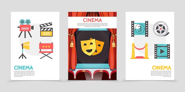 Flat cinema posters with movie camera clapboard projector director chair filmstrip red carpet film reel