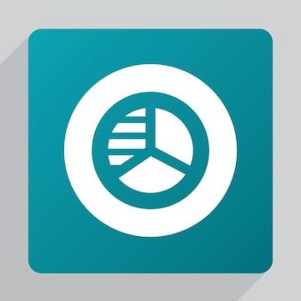 Flat circle diagram icon, white on green background