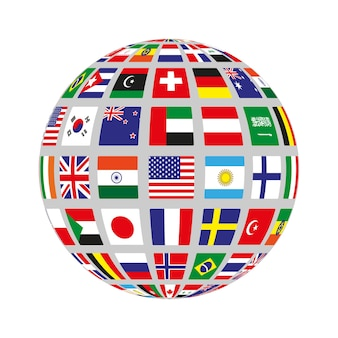 Flat circle with flags of different countries. vector illustration.