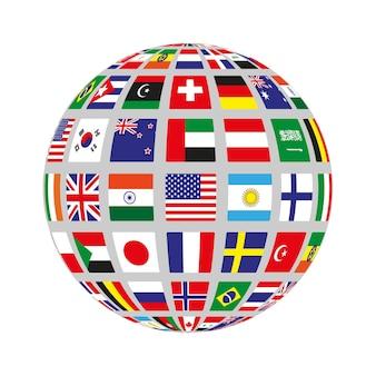さまざまな国の旗が付いた平らな円。ベクトルイラスト。