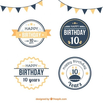 Flat circular birthday badges