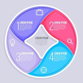 Modello di infografica diagramma circolare piatto