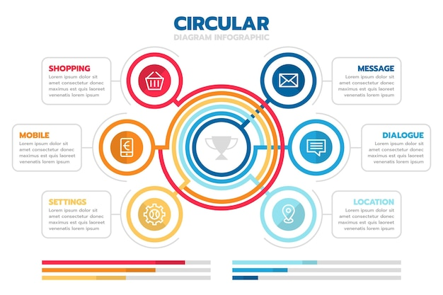 Плоская круговая диаграмма инфографики шаблон Бесплатные векторы