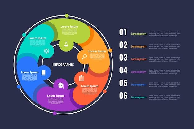 Плоская круговая диаграмма инфографики