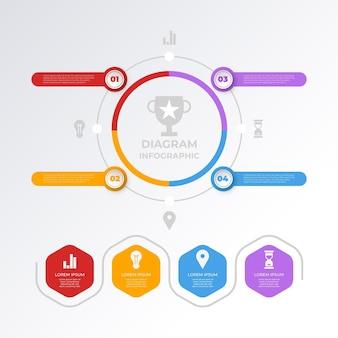 평면 원형 다이어그램 infographic