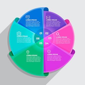 Infografica diagramma circolare piatto