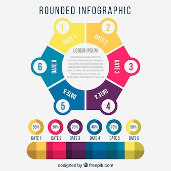 Flat circular infographic with fantastic colors