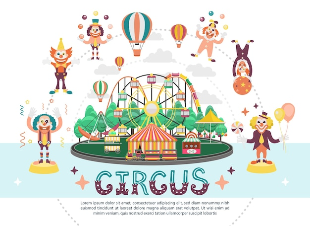 Flat circus carnival round composition