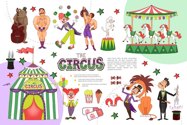 Flat circus composition with juggling clown strongmen carousel animal tricks magician tent tickets ice cream