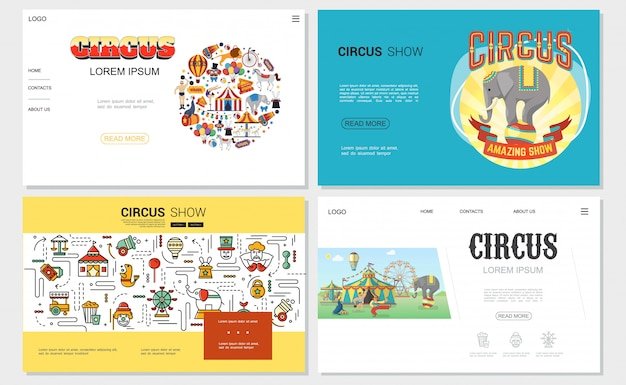 Flat circus websites set with tent strongman trained animals acrobat clown magician carousels cannon tickets elements and linear icons