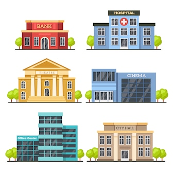 Flat city buildings. contemporary office center, hospital facade and city hall building. modern theater and cinema vector illustration