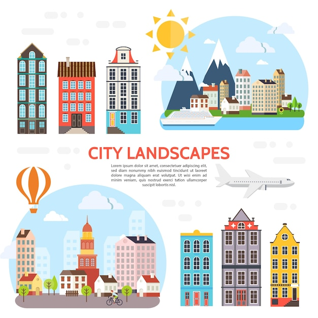 Flat city landscape elements set with different buildings sky sun airplane ship trees hot air balloon