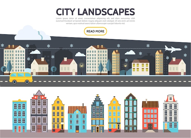 Flat city landscape template with night winter cityscape buildings skyscrapers of different architecture
