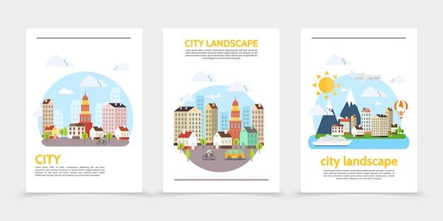 Плоский городской пейзаж вертикальные баннеры со зданиями, солнце, небо, деревья, горы, различные транспортные средства и человек, катающийся на велосипеде, иллюстрация