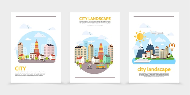 Flat city landscape vertical banners with buildings sun sky trees mountains different vehicles and man riding bicycle illustration