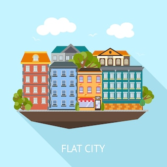 Flat city long shadow composition with colored buildings and green trees on blue sky, vector illustration