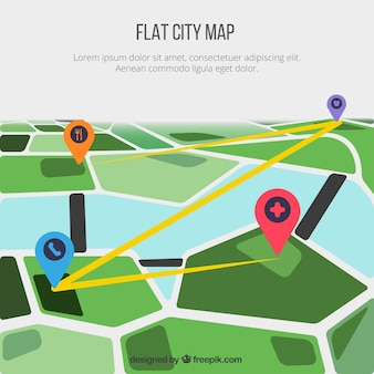Flat city map background with pins