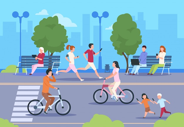 Flat city people street. town park nature landscape bicycle walk urban lifestyle walking man and woman. city background