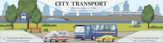 Плоский городской транспорт фон с машинами скорой помощи, машинами такси, подметально-уборочной машиной и поездом, движущимся по мосту