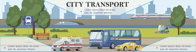 Flat city transport background with ambulance taxi cars bus sweeper and train moving on bridge