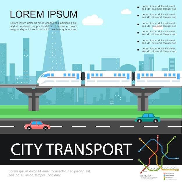 Modello colorato di trasporto di città piatta con treno in movimento sulla ferrovia sul ponte sul paesaggio urbano