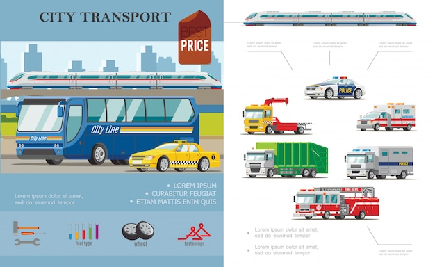 Flat city transport composition with bus taxi ambulance cars tow fire and garbage trucks