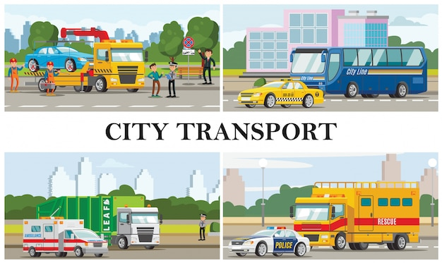 Flat city transport composition with taxi ambulance police cars bus garbage fire and tow trucks