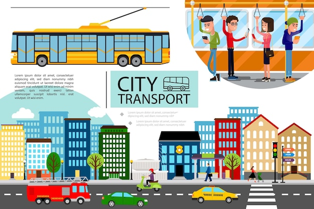 Flat city transport concept with cityscape cars motorbike fire truck moving on road and passengers riding by trolley bus