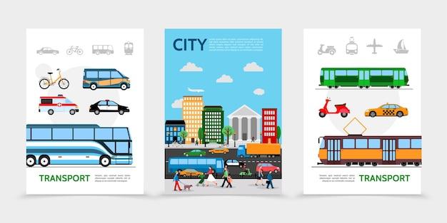 Плоские плакаты городского транспорта с велосипедным фургоном, скорая помощь, полицейская машина, автобус, трамвай, скутер, такси, люди на улице, городская дорога