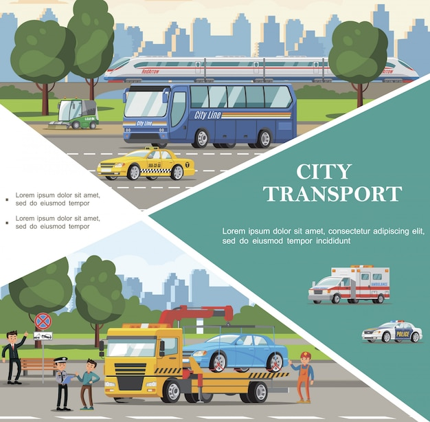 Flat city transport template with bus ambulance police taxi cars road sweeper tow truck evacuating automobile