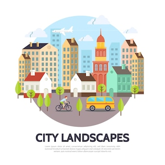 異なる構造の木の建物とフラットな街並みのコンセプト飛行機バススカイマン乗馬自転車イラスト