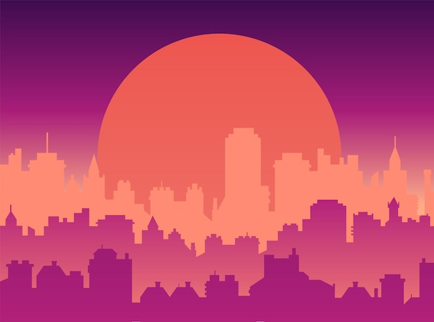 Flat cityscape with sunset sky and sun modern city skylines