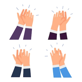 Flat clapping hands set