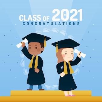 Flat class of 2021 illustration