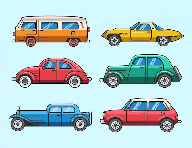 Flat classic car set icons and elements