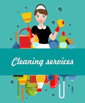 Poster di servizio di pulizia piatta