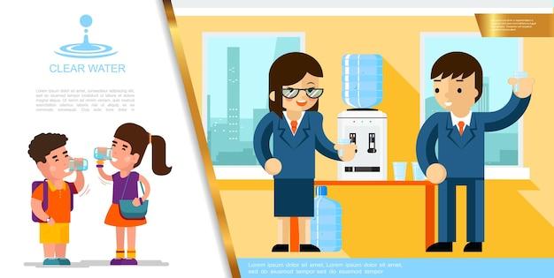Modello di acqua chiara piatta con bambini che bevono liquido puro e uomini d'affari vicino al refrigeratore d'acqua in ufficio