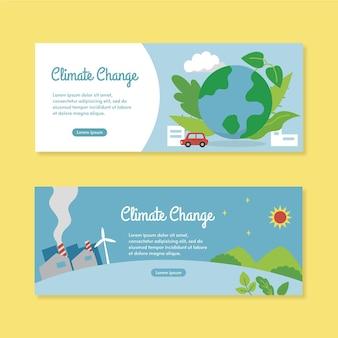 Set di banner piatto per il cambiamento climatico