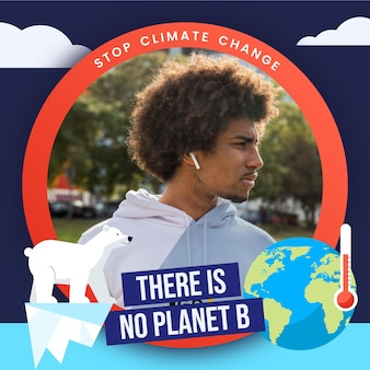 Flat climate change facebook frame for profile pic
