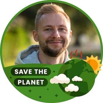 Flat climate change facebook frame