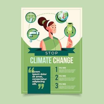 Flat climate change flyer template