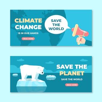 Set di banner orizzontali piatti per il cambiamento climatico