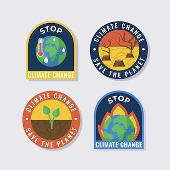 평평한 기후 변화 라벨 컬렉션