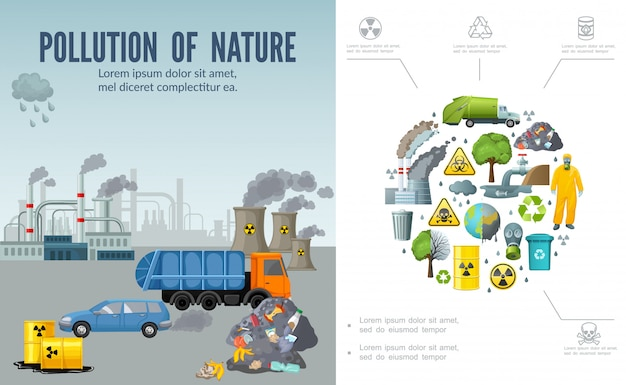 Плоская композиция загрязнения климата с мусоровозом, автомобильные бочки с отходами заводских дымоходов, земляное дерево, человек в маске защитного костюма, перерабатывающий знак