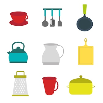 Flat clipart kitchen utensil set