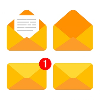 Flat  of closed and open envelope with document in it. getting or send new letter. e-mail icon isolated.
