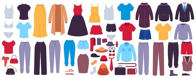 平らな服。女性と男性の衣服、アクセサリー、靴とバッグ、ファッションの季節のワードローブ、モダンなカジュアルな服装のショールーム、ベクターセット。下着、女性・男性キャラクター用アウター