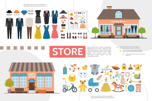 여성과 남성 의류 액세서리 아동 장난감 의류 일러스트와 함께 플랫 의류 및 키즈 숍 인포 그래픽