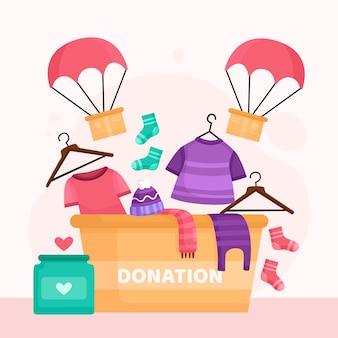 Illustrazione di concetto di donazione di abbigliamento piatto