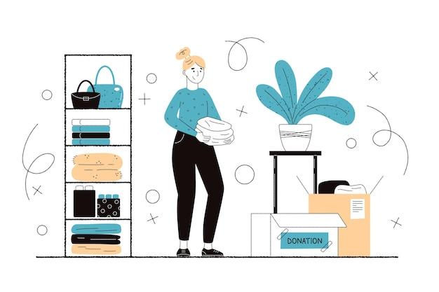 Illustrazione di donazione di vestiti piatti